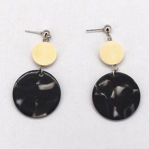 Jewelry - NEW Acrylic Wooden Round Long Earrings (Black)